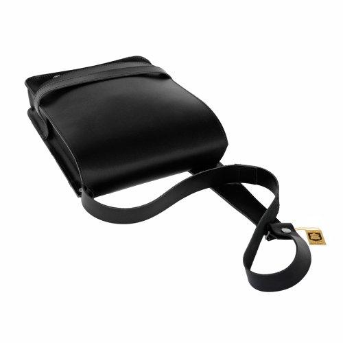 Herren Handtasche Größe M / Umhängetasche aus Büffel-Leder, A4 Hochformat, Grau, Jahn-Tasche 685 Schwarz
