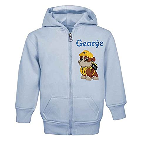 RUBBLE PAW PATROL PERSONALISED ZIP FRONT HOODIE (BABY BLUE) (4-5