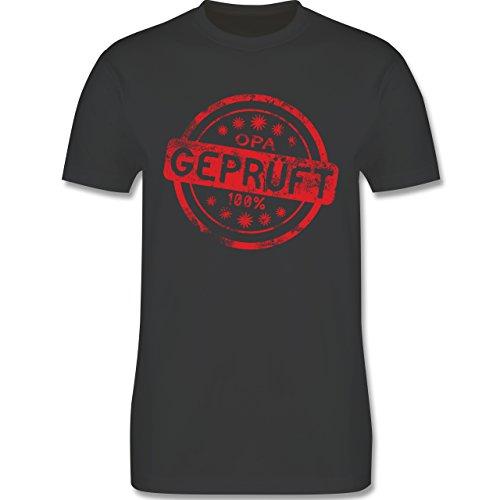 Großeltern - Opa geprüft - L190 Herren Premium Rundhals T-Shirt Dunkelgrau