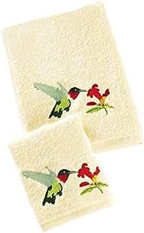 The Paragon - Juego de 2 Toallas Bordadas, diseño de colibrí, Toalla de Mano