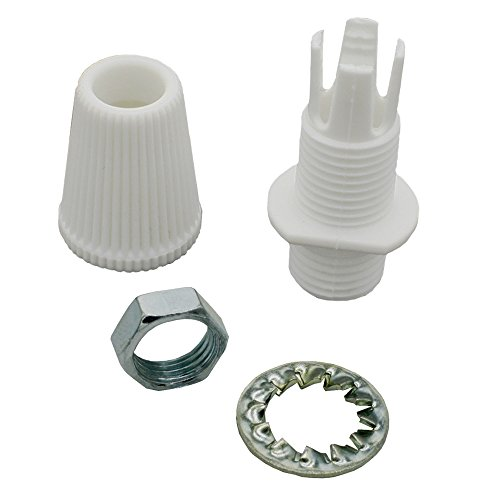 Zugentlaster Weiß 2-teilig Gewinde M10x1 + Sechskantmutter + Zahnscheibe Zugentlastung für Pendel- und Hängeleuchten schraubbar SET-W (Palmen 15mm)