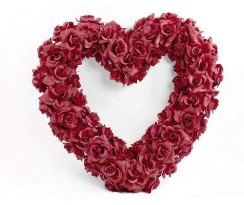 Autodekoration Riesen-Herz-Kranz mit roten Rosen 50 cm für die Motorhaube zur Hochzeit mit zwei roten Rosen-Türschleifen