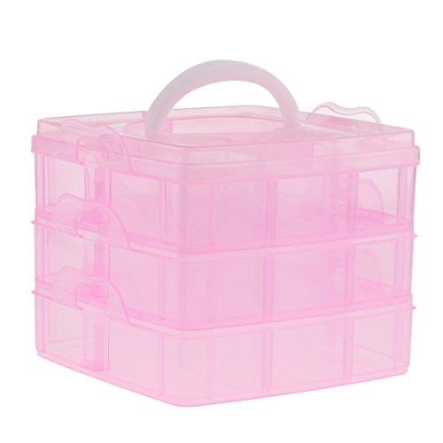 Baosity Grande Boîte de Rangement en Plastique à Multifonctions - Approprié pour l'Ongle, le Maquillage, l'Artisanat, les Produits et les Outils de Pêche ou la Pillule - Rose