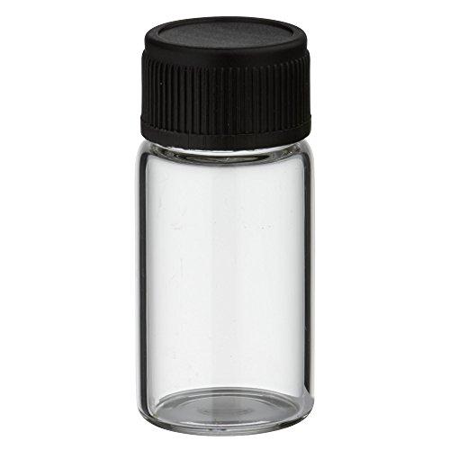 10x Mini Flasche 3ml aus klarem Glas mit schwarzem Schraubverschluss und Dichteinlage
