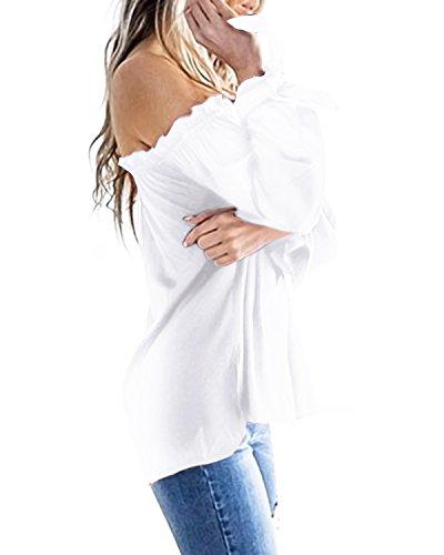 ACHIOOWA Femme Sexy Tops Col Bateau Manches Longues Casual Lâche Pull Tunique Shirt Haut Blanc