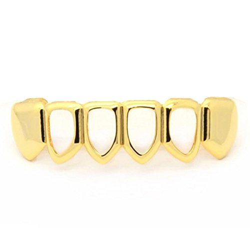 QHGstore Top Bottom Row Hip Hop Bling Abnehmbare Zähne Fake Teeth Hollow Out Halloween Goldene Hohlzähne unten