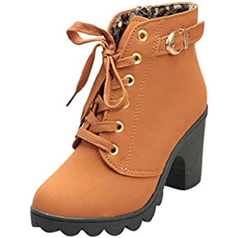 FEITONG De las mujeres Tacón alto Tobillo Botas Señoras Hebilla Plataforma Zapatos