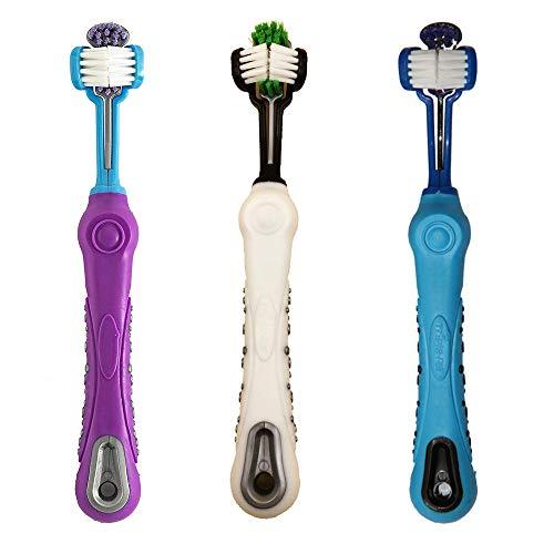 AIDIYA Hund Zahnbürste für Pet Dental Care – Triple Zahnbürste – ergonomischer Griff Design für einfache Oral Care Pflege (Weiß+Lila+Blau)