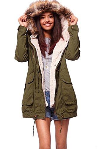 Casual caldo parka donna con cappuccio di pelliccia del Faux Armygreen 5XL