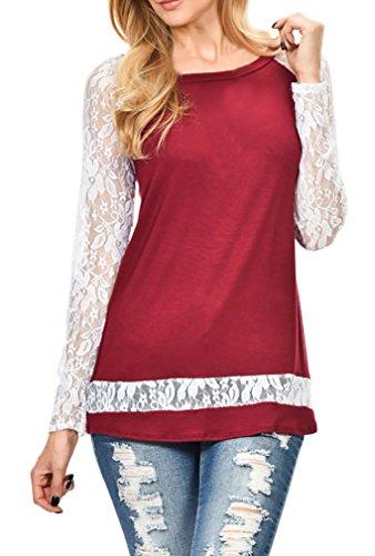 Langarmshirt Damen Blusen Shirts Rundkragen Stitching Spitze Aushöhlen Langarm Schlank Elegante Lässige Schwarz