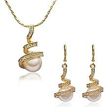 Forfamilyltd Juego de joyas pendientes y colgante Chapado en oro amarillo con SWAROVSKI Cristal Blanco y perla para Mujer