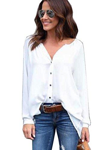 Yidarton Damen Bluse Chiffon Langarm Oberteile Elegante Mode Hemd Asymmetrisch Top (Weiß, XL) Bluse Für Frauen, Chiffon