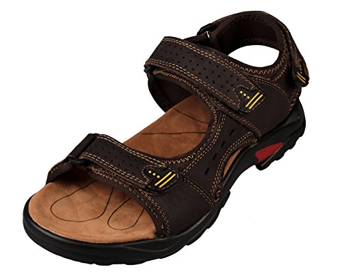 4How Walking Sandals Mens Leather Summer Shoes Open toe Sandals Sizes 10