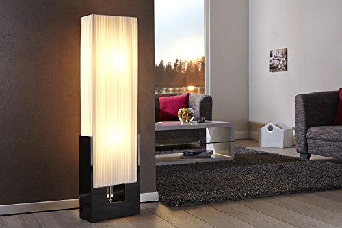 Wohnzimmerlampe Weiß Schwarz 120cm Bauhaus Design eckig Latex Schirm Stehleuchte
