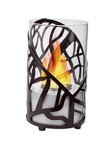 GiftLLC Ethanol-Kamin für Innenbereich, belüftet, mit dreieckigem Glasdesign und Edelstahlbrenner Cylinder