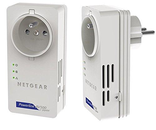 NETGEAR XAVB5601-100PESPowerline-Netzwerkadapter (500Mbps über Stromleitung, integrierte Steckdose Gigabit LAN) - Netgear-gigabit-powerline