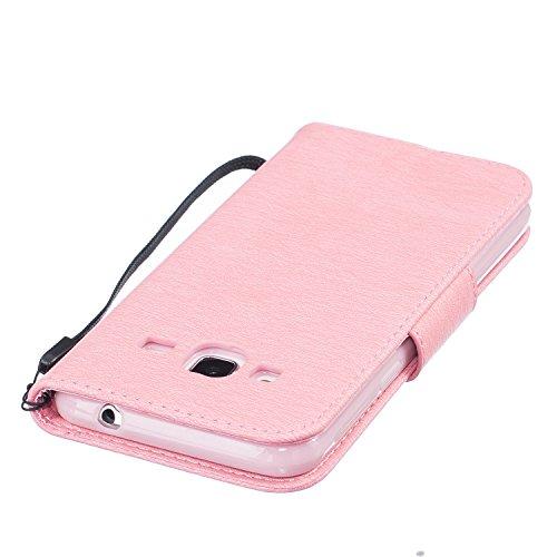 Qiaogle Téléphone Coque - PU Cuir rabat Wallet Housse Case pour Apple iPhone 7 (4.7 Pouce) - BF52 / Plumes rose et de l'Espoir de la vie BF48 / Plumes Pink et de l'espoir de la vie