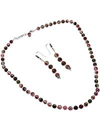 Silvesto India Tourmaline Quartz Gemstone Necklace & Earring Set For Women & Girls PG-132136