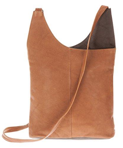 CININO Ledertasche Umhänger 2-COLOR Handtasche Leder +Etui (Cognac / Brown) (Brown Color Leder)