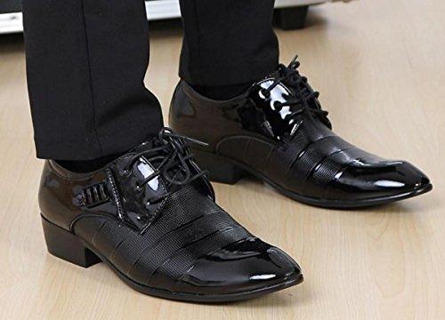 NSPX Abbigliamento Uomo Scarpe in Cuoio Pochette Pizzo Tatuaggio Scarpe Da Sposa Abito Banchetto Oxford Scarpe , 43 , 2090 black 3006BLACK-38