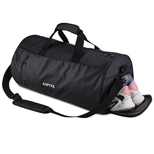 Agptek borsone palestra uomo borsa sportiva impermeabile con spazio indipentente per scarpe ideal per viaggio e sport esterno calcio pallavolo ecc, 30l, 51 * 20 * 27cm,nero