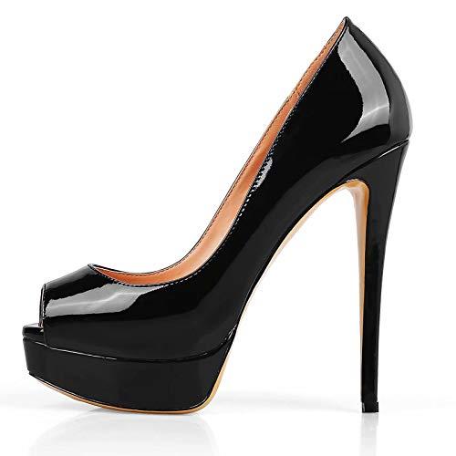 Caitlin pan Damen Pumps, Sexy Slip High Heels Peep Toe Plateau Pumps Stiletto Hochzeitsschuhe