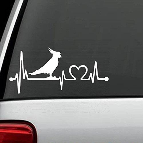 wandaufkleber 3d schlafzimmer Parrot Cockatoo Bird Heartbeat Lifeline Decal Sticker Die Cut Decal Sticker For Windows, Cars, Trucks, Laptops, Etc (8 x 3.8 inches) -