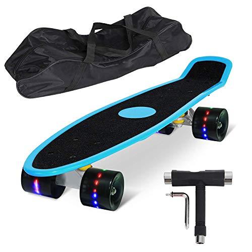 teboard Komplett Fertig Montiert mit Tasche und T-Tool (Blau Deck / Schwarz Sandpapier / Schwarz LED Rollen) ()