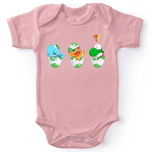 �mon Lustiges Pink Baby Strampler (Mädchen) - Yoshi, SCHIGGY und GLUMANDA (Yoshi - Pokémon Parodie) (Ref:885) ()