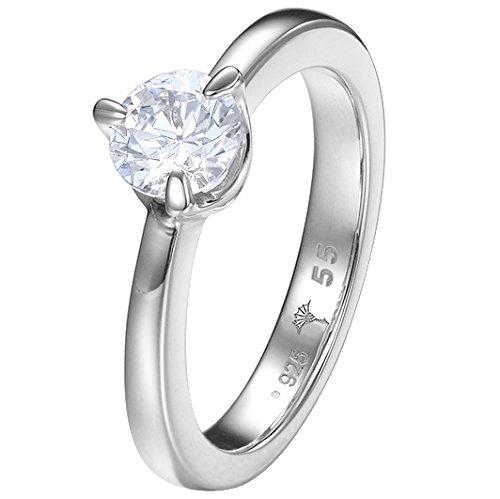 Joop! Damen-Ring 925 Silber Zirkonia weiß Rundschliff Gr. 55 (17.5) - JPRG90793A180