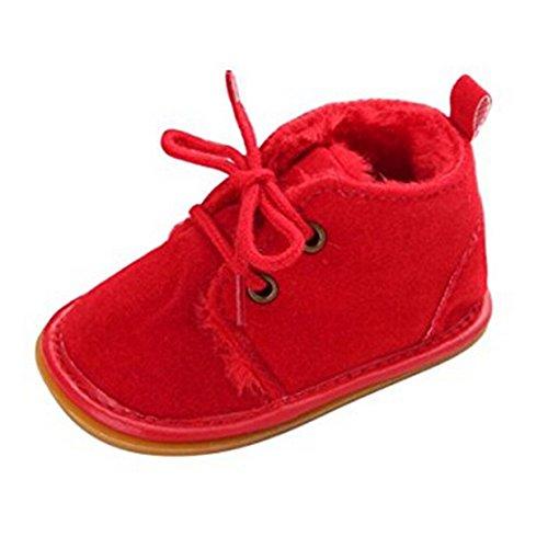 Lalang Bottes de Neige Bébé Fille Garçon Bottines Chaussures Premiers Pas Chaud Hiver Chaussons,0-18 Mois (0-6 Mois, Rouge)