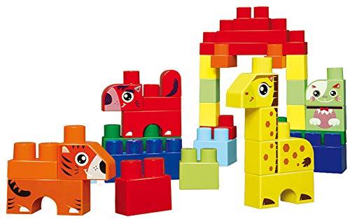 Jouets Ecoiffier -7781 - Baril bleu + briques à empiler Animaux Abrick Maxi - Jeu de construction pour enfants - 50 pièces - Dès 12 mois - Fabriqué en France