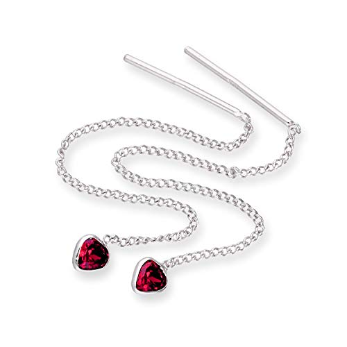 Sterlingsilber & Rubin CZ Kristall Herz Juli Geburtsstein Durchzieher Ohrringe (Geburtsstein Juli Ohrringe)