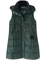 CHENGYANG Chaqueta abrigo largo invierno Chalecos con capucha guateados Ligero Chaquetas sin manga para mujer