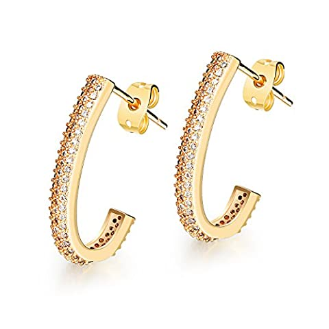 M.JVisun Bling Jewelry Cubic Zircon 18K Gold Platinum Plated Ear Stud Earrings for Wedding, Gold / Silver (1 Pairs: Gold)