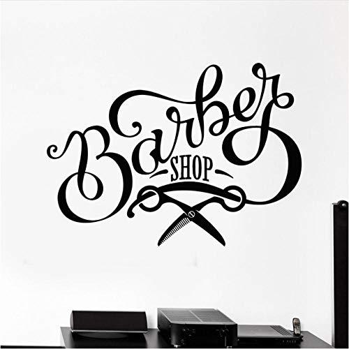 Diseño de peluquería Vinilo Tatuajes de pared Barbería Tijeras Letrero Belleza Peluquería Pegatinas Mural Papel pintado Decoración de ventana 79x57cm