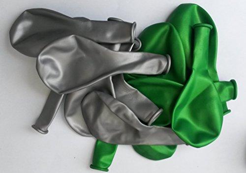 Sachsen Versand 50 grün-silber-metallic-Luft-Ballons glänzend-metall-Feier-Deco-Geburtstag-Fete-Helium-geeignet EU Ware
