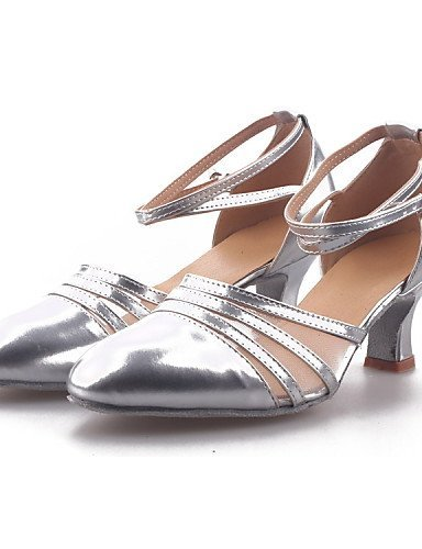 ShangYi Non Customizable Women's Dance Shoes Modern Leatherette/Paillette/Synthetic Cuban Heel Black/Silver/Gold Gold