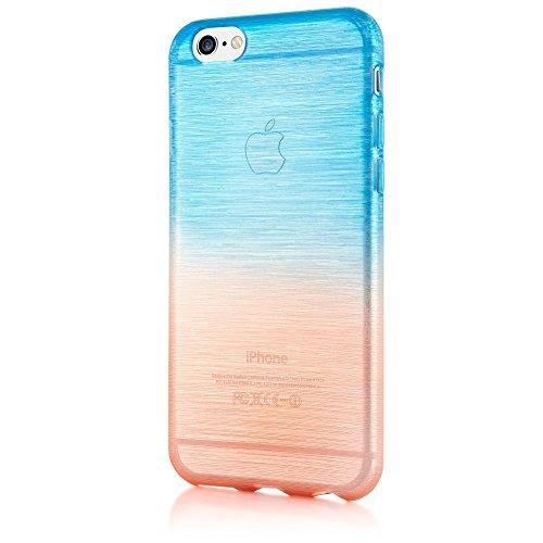 delightable24 Coque Protection TPU Silicone Rainbow Design Case Smartphone pour APPLE IPHONE 6 / 6S - Bleu / Orange Bleu / Orange