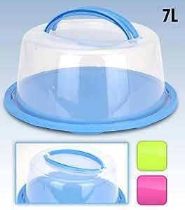 Quality Blue Circular Round Plastic Cake Transporting Carry Case up to 28cm Diameter