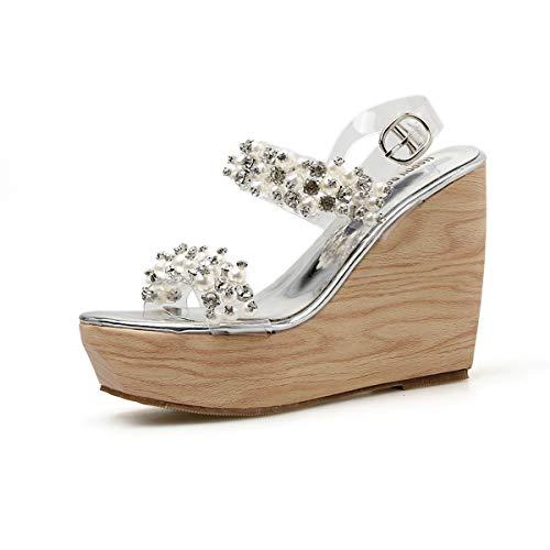 YAN Frauen High Heel Sandalen 2019 Sommer Wedge Schuhe versenkter Rhinestone Schuhe Peep Toe Ankle Strap Fashion Platform Schuhe Gold, Silber,B,35 Ankle Strap Platform Wedge
