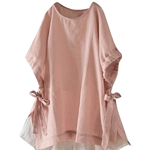 Zegeey Damen Oberteil Pullover Baumwolle Und Leinen Kurzarm V-Ausschnitt Solide LäSsige Lose GroßE GrößEn Sommer Hemdtasche Tops T-Shirt Shirts Tunika (A4-Pink,EU-44/CN-2XL)