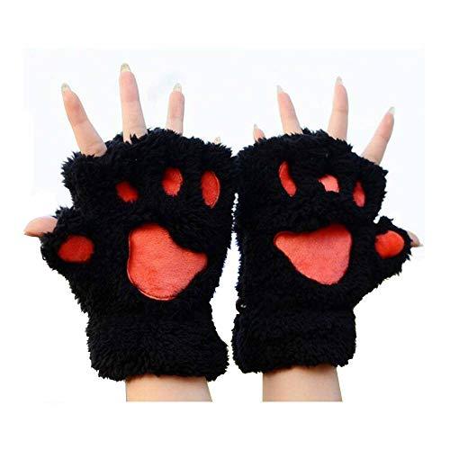 MAXGOODS 1 Paar Nette Fingerlose Pfote Plüsch Handschuhe, Katze Bär Paw, aus Künstlich Faux Pelz für Frauen Damen - Schwarz (Schwarze Bären Kostüm)