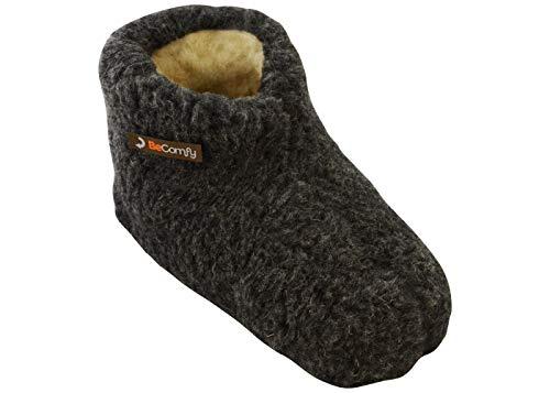 BeComfy Warme Hausschuhe Damen Herren Hüttenschuhe aus Schafwolle (43 EU, Graphite)