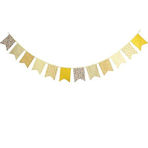 G2Plus 3,5m guirnalda de banderas Vintage Shabby Chic de tela de doble cara de triángulo de algodón de tejido Bandera Banderín Banner Bandera Guirnaldas de Lovely Decoración para Fiestas Ceremonias amarillo