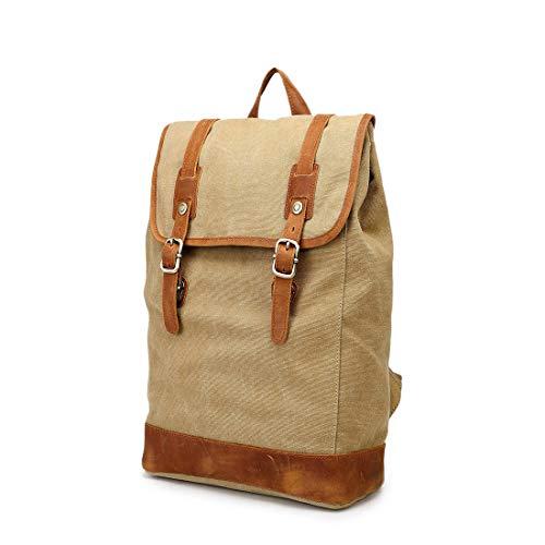 UICICI Vintage Herren- / Damenrucksack Daypack Wasserdichte Drucktaste Leinwand 14-Zoll-Laptop Student Outdoor Shopping Farbe: Grau (Farbe : Khaki)