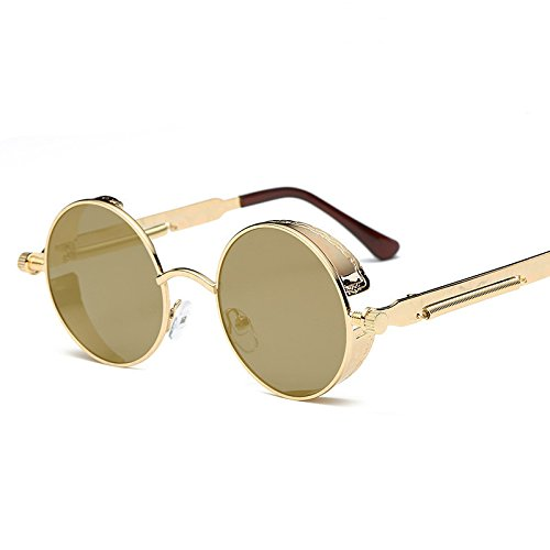 ZZ Klassische, runde, reflektierende Sonnenbrille mit Persönlichkeit,Gold Box Gold Q