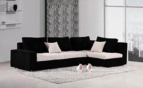 Divano letto angolare tessuto nero con vano contenitore moderno salotto | sara