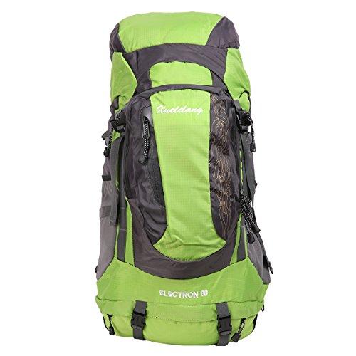 HWJIANFENG Zaini 60L Sportivi Unisex in Nylon Poliestere da Trekking Borse per Outdoor Campeggio Escursionismo Viaggi Verde
