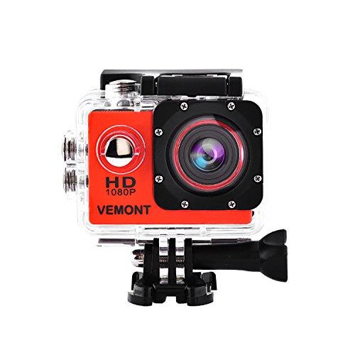 Vemont 1080p 12MP Action Kamera Full HD 2,0 Zoll Bildschirm 30m/98 Fuß Wasserdichte Sports Kamera mit Zubehör Kits für Fahrrad Motorrad Tauchen Schwimmen usw (Rot) Garantie Video